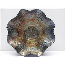 Carnival Glass Bowl Dragons & Flowers