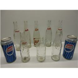8 Pepsi-Cola Bottles & 2 Cans