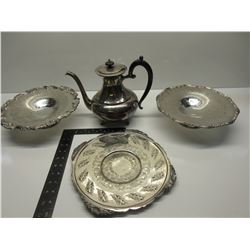 Silver Plate Tea Pot and 3 Serving Plates