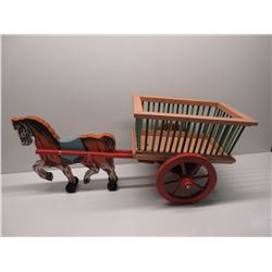 Homemade Wood Horse and Wagon