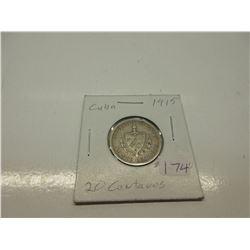 1915 Cuban 20 Centavos .900 Silver