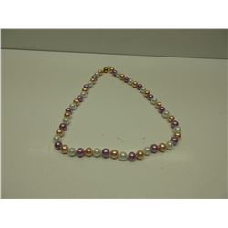 Tri Color Ocean Sea Shell Pearl Necklace - hand knotted