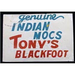 Indian Trading Post Sign - Tony's Blackfoot 1906-
