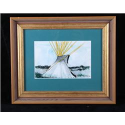 Original Kevin Red Star Buffalo Tipi Painting RARE