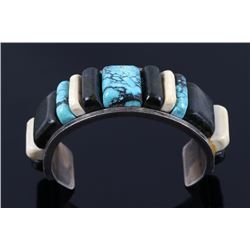 Navajo Turquoise & Bloodstone Inlaid Silver Cuff