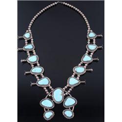 Navajo Signed Blue Gem Turquoise Squash Blossom