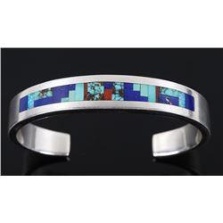 Navajo N. Becenti Mosaic Inlay Sterling Bracelet
