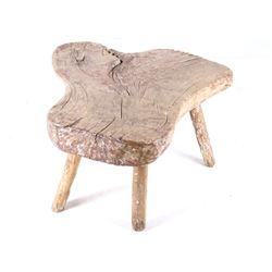 Early 1900s Farm House Oak Stump Slab Table
