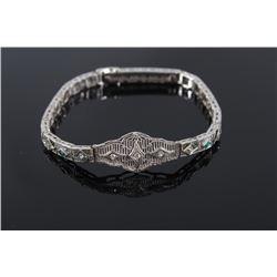 Art Deco Diamond & Emerald 14K White Gold Bracelet