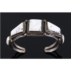 Navajo Signed George Jones White Buffalo Bracelet