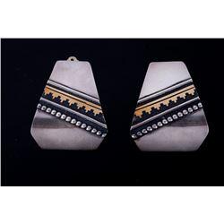 Navajo T. Singer Gold & Sterling Silver Earrings
