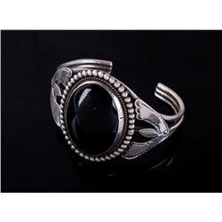 Navajo Sterling Silver & Polished Obsidian Cuff