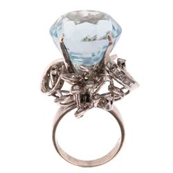17.31 ct. Aquamarine & Diamond Art Deco Ring c1920