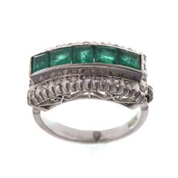 Art Deco Emerald & Diamond 18K Gold Ring c.1920