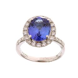 4.21 ct Tanzanite & 1.08 ct Diamond 14K Gold Ring