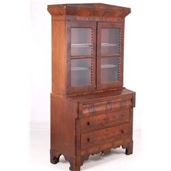 Mid 1900s Walnut Veneer Oak Hutch