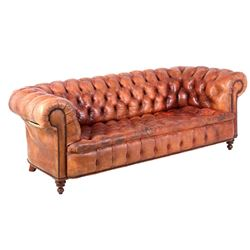French Chesterfield c. 1890 Tufted Leather Sofa