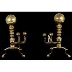 Early 1900 Brass Fireplace Andirons Large