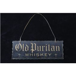 Early 1900s Old Puritan Whiskey Advertisement Sign