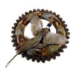 Excellent Trophy Flying Pheasant Wreath Mount