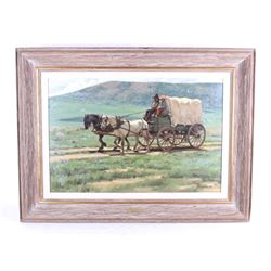 Original Fred Fellows Covered Wagon Days Painting