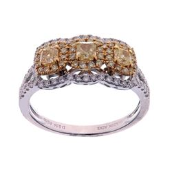 Fancy Yellow Diamond & White Diamond Gold Ring