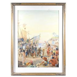 Original Louis Leo Landing of Columbus Watercolor