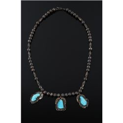 Navajo Fox Turquoise and Silver Necklace