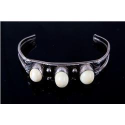 Navajo Sterling Silver Elk Tooth Bracelet