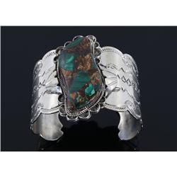Navajo Signed Sterling Silver & Malachite Bracelet