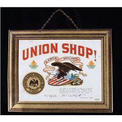 Barber Shop Union Shop Lithograph Tin Sign c 1900s