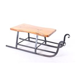 Early Traditional Child's Wooden & Cast Iron Sled