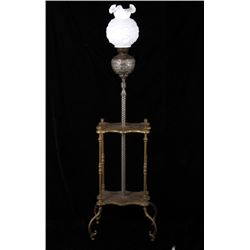 Victorian Floral Iron & Brass Piano Gas Lamp Table