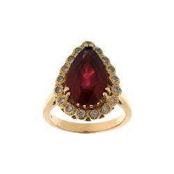 Vintage Estate Ruby & Diamond 14K Gold Ring