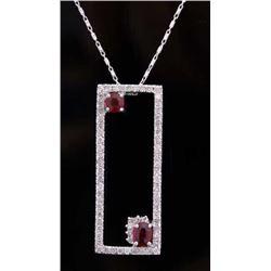 Vintage Estate Ruby & Diamond 14K Gold Necklace