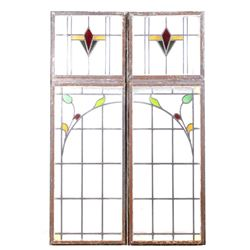 Early Art Nouveau Floral Stained Glass Windows