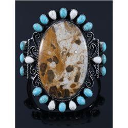 Navajo Turquoise & Agate Sterling Silver Bracelet