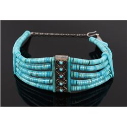 Navajo Sterling Silver & Turquoise Choker Necklace
