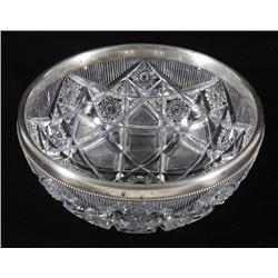 Gorham Sterling Silver & Cut Crystal Serving Bowl