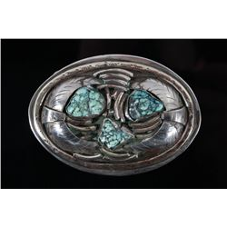 Navajo Carico Lake Turquoise & Silver Belt Buckle