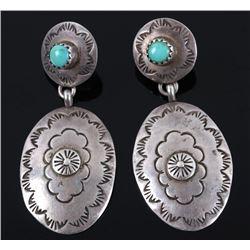 Signed Jackie Singer Sterling & Turquoise Earrings