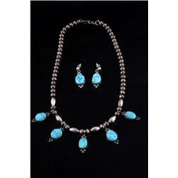 Navajo Kingman Turquoise Silver Earring & Necklace