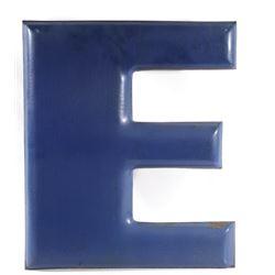"""Blue Porcelain Enamel """"E"""" From Goodyear Sign"""