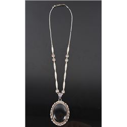 Taxco Mexico Sterling Silver Black Agate Necklace