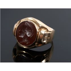 19th Century 10K Gold & Garnet Signet Ring