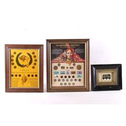 Mid 1800s-1900s Framed Western Coin Collection