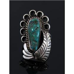 Navajo Signed Carico Lake Turquoise Ring
