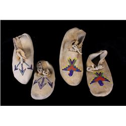 Two Pairs of Native American Indian Moccasins
