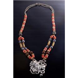 Antique Tibetan Silver & Coral Necklace
