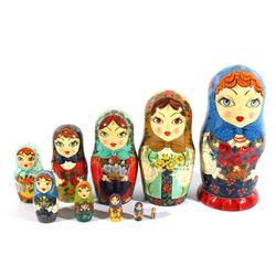 Hand Painted Matyroshka 10 PC Russian Nesting Doll